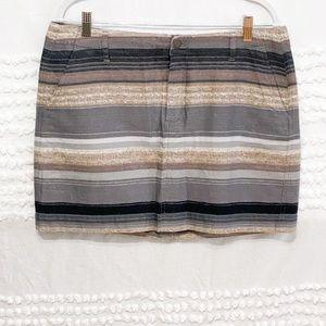 Old Navy neutral stripe basketweave mini skirt 10